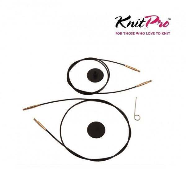 Seil für austauschbare Nadelspitzen schwarz-gold KnitPro