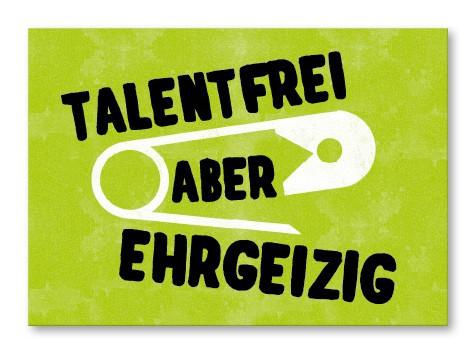 Strickimicki Postkarte - Talentfrei aber ehrgeizig