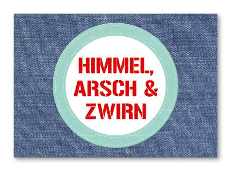 Strickimicki Postkarte - Himmel, A**** und Zwirn