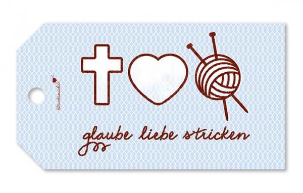 Strickimicki Geschenk-Anhänger - Glaube Liebe Stricken